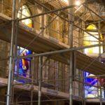 Montage échafaudages église Ursy